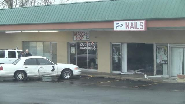 Car Creates Gaping Hole In Tulsa Nail Shop