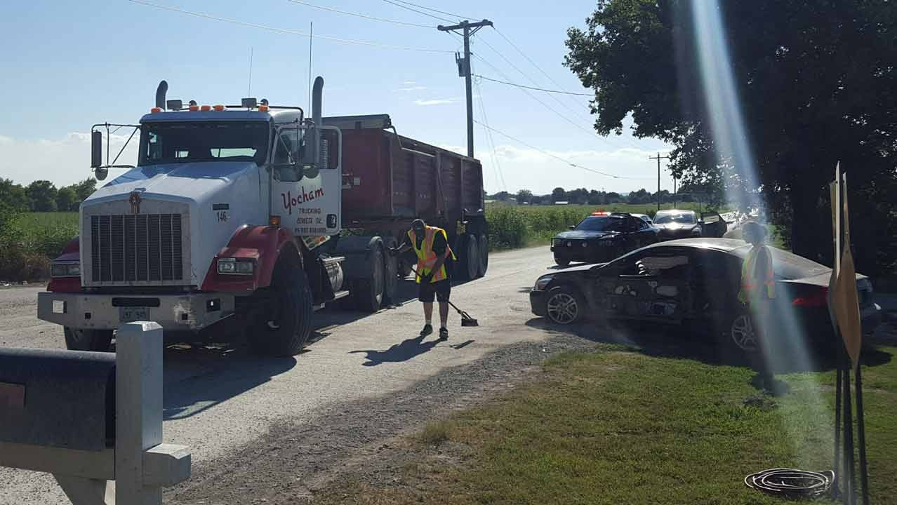 Dump Truck, Car Collide Near Owasso