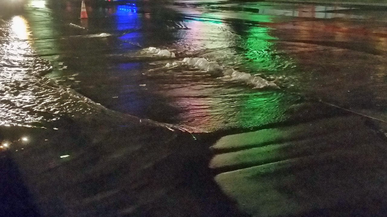 Water Line Break Impacts Traffic At 31st And Sheridan