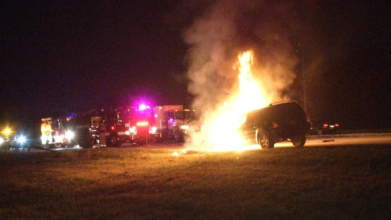 Repo Driver Unhooks Burning SUV In Tulsa