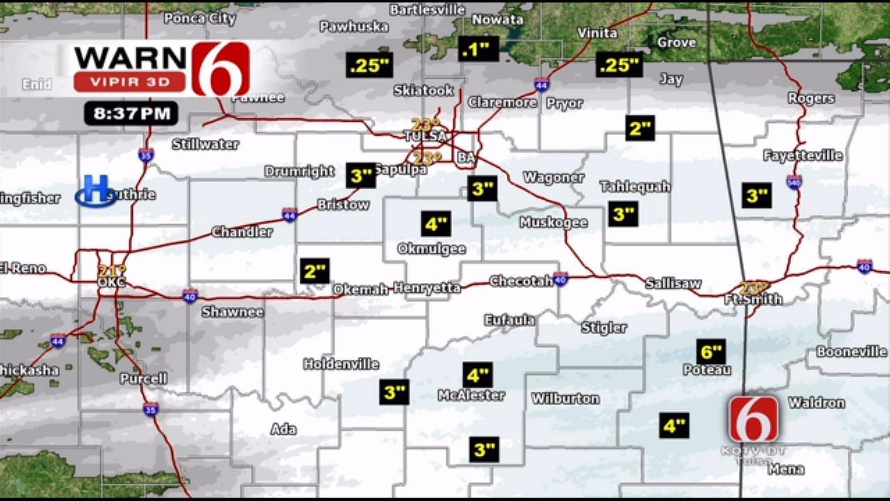 Snow Falls On Much Of Northeastern Oklahoma