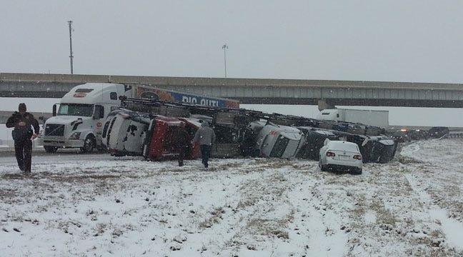 Car Hauler Overturns On Interstate 44 Near Sapulpa