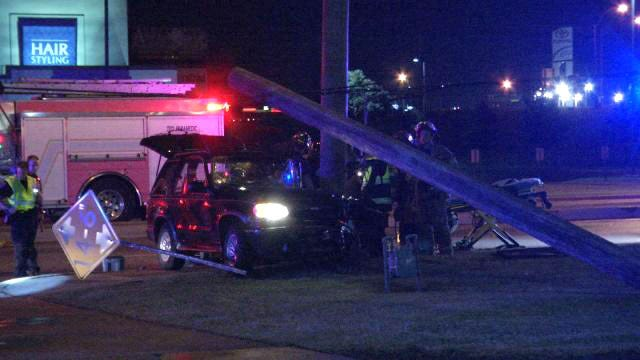 Man Freed From SUV After Crash Into Tulsa Utility Pole