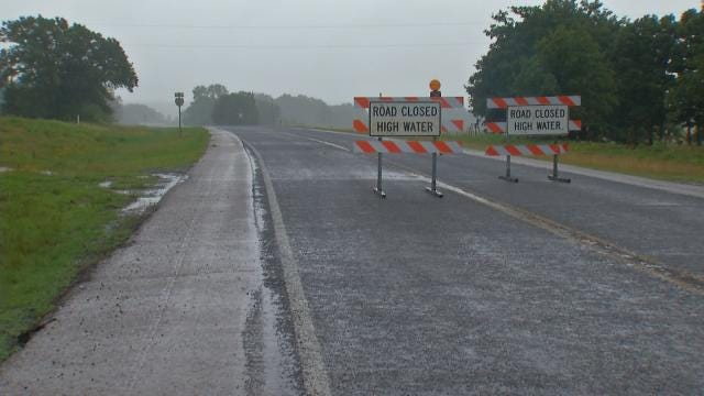 Parts Of Highway 48 Become North Canadian River In Okemah
