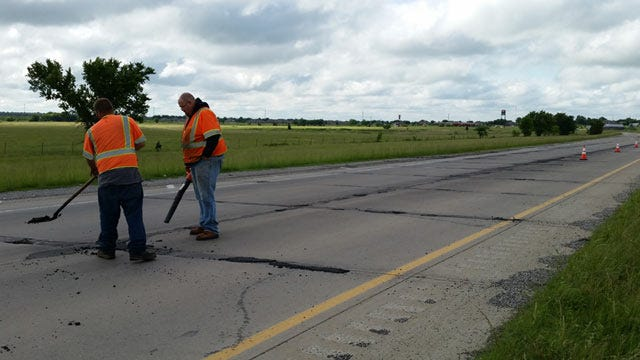 Workers Patch Potholes On Two Tulsa Area Highways