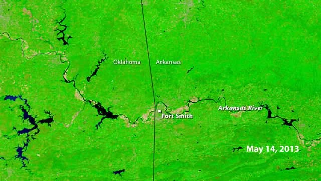 NASA Images Show Arkansas River Flooding