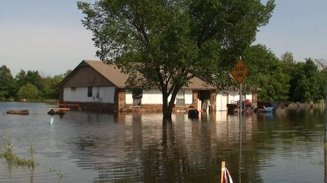 Pooling Flood Water Forces Wagoner Residents Out Of Homes