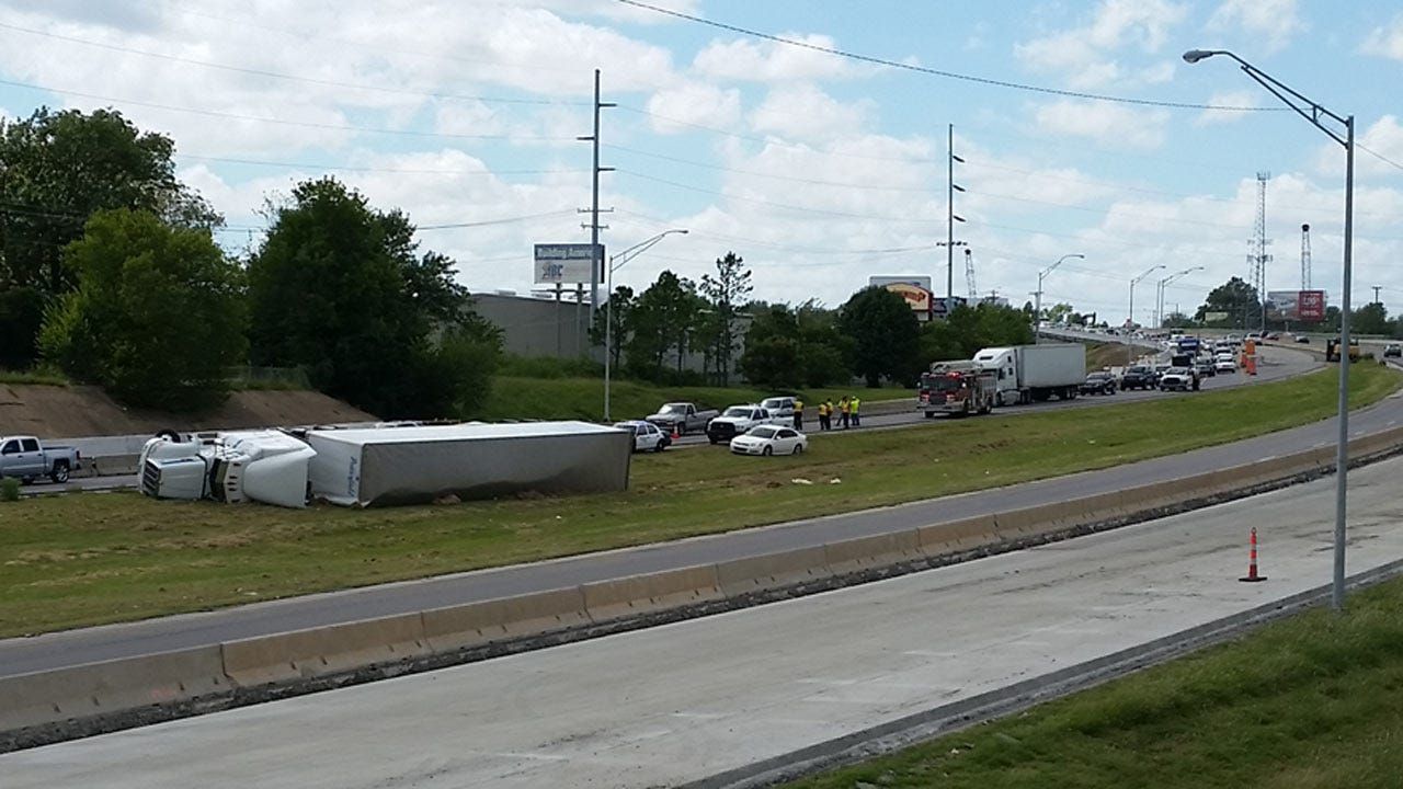Semi Rolls Over In Tulsa I-244 Construction Zone