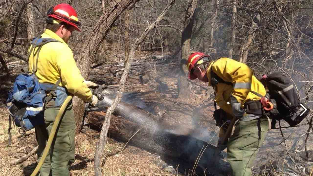 Oklahoma Firefighters Help Battle Kansas Wildfire