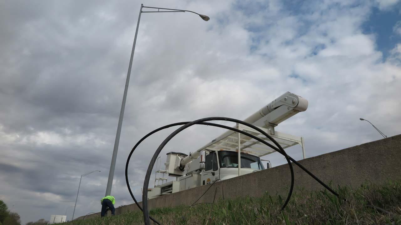 City Crews Continue Work To Repair Highway Street Lights