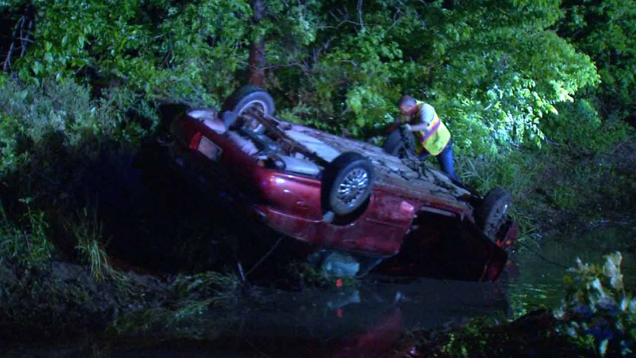 Car Lands Upside Down In Water-Filled Ditch Outside Skiatook