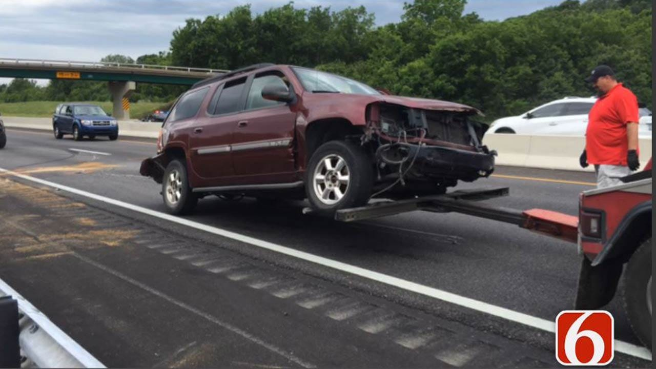 OHP: Blown Tire Caused SUV Crash On I-44 In Rogers County