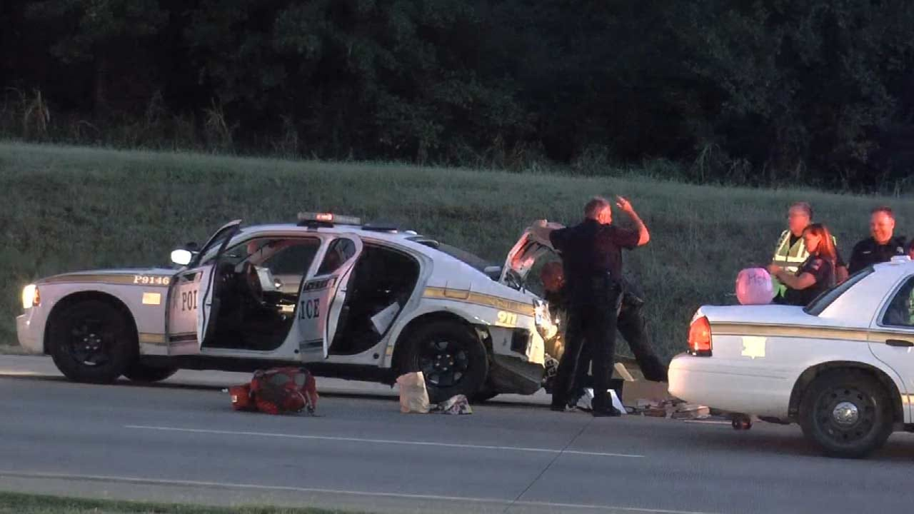 Tulsa Police Car Rear-Ended On 71st Street West Of River