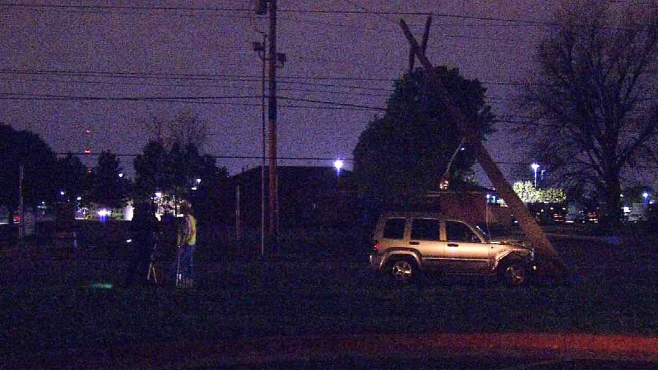 Tulsa Power Lines Down On East Pine After Car Hits Pole