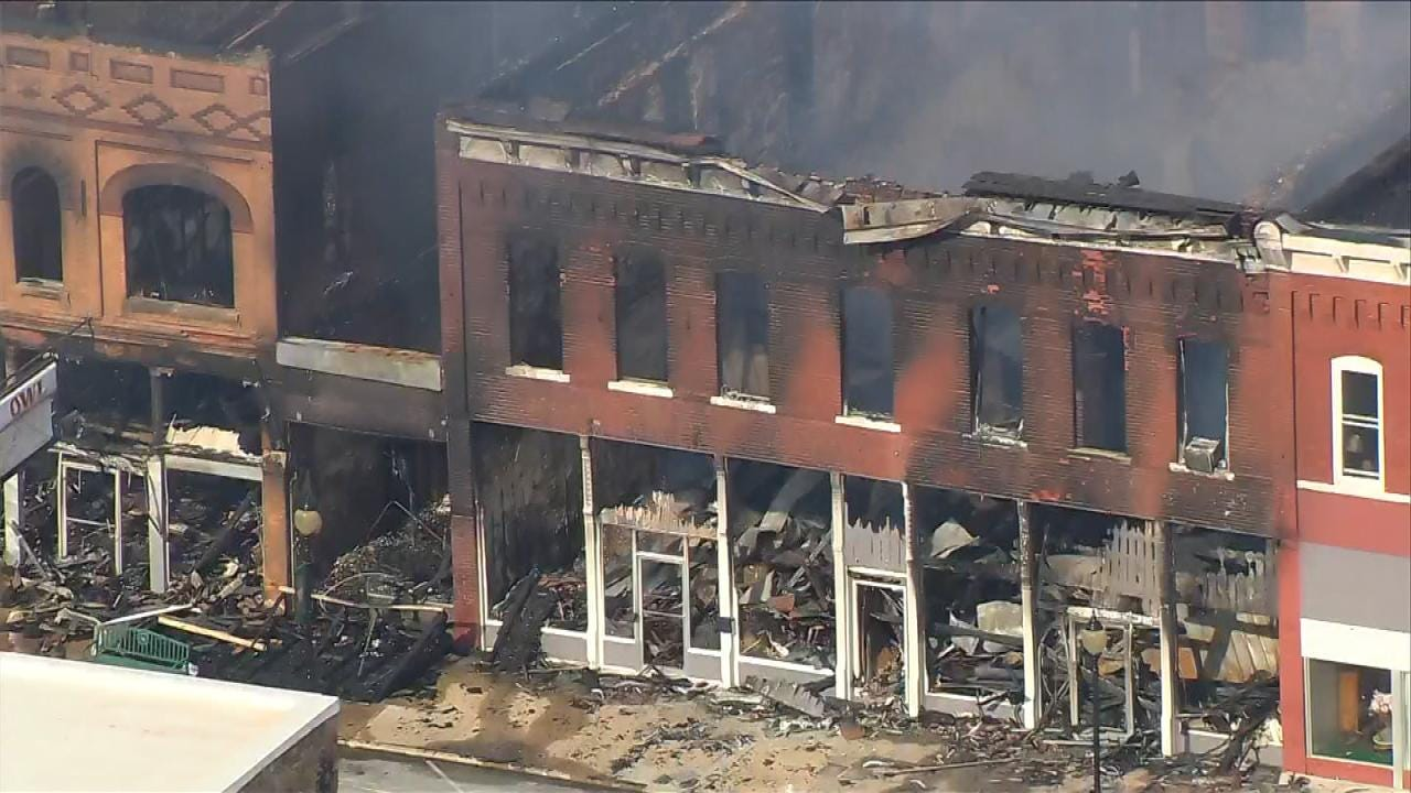 Structural Engineer Inspects Burned Remains Of Wagoner Buildings