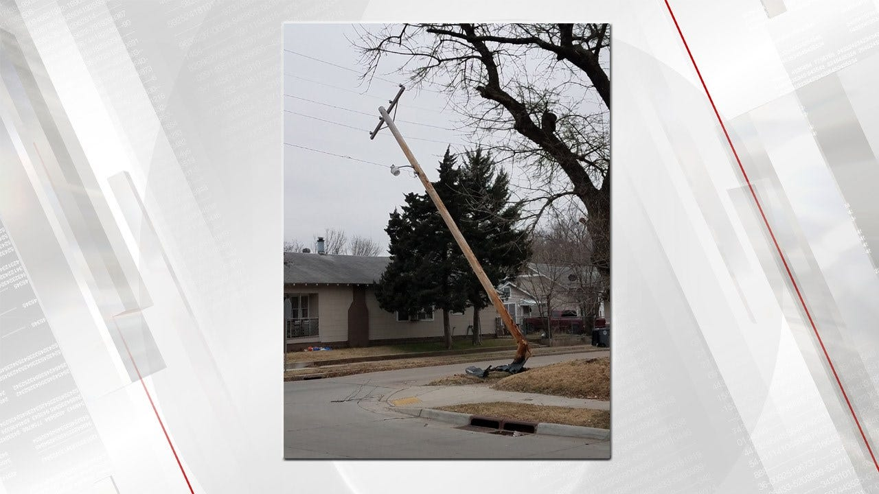 Car Crashes Into Power Pole Causing Power Outage
