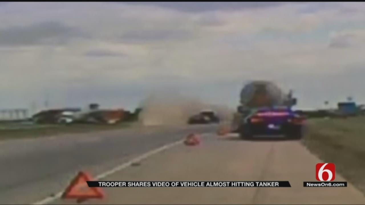 OHP Video Shows Close Call On I-35 In Ardmore
