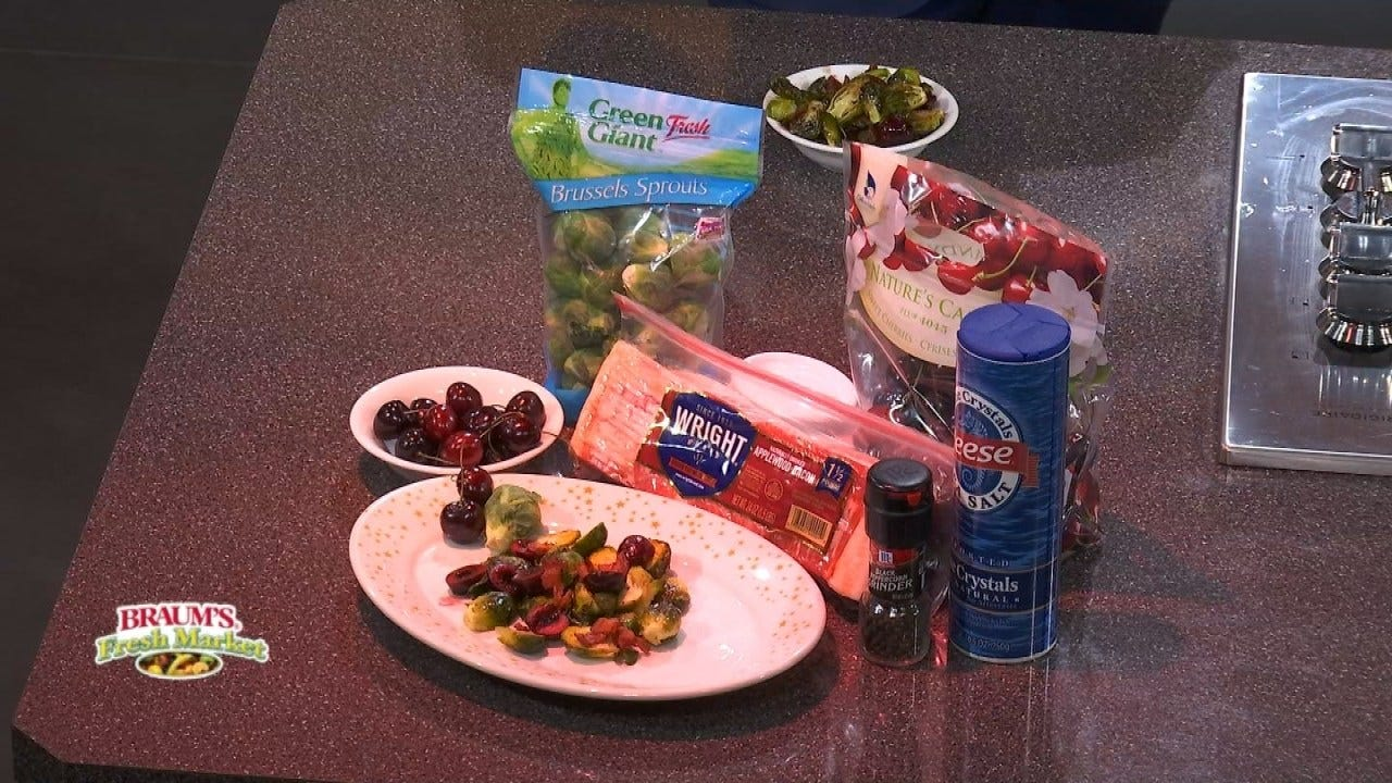 Roasted Brussels Sprouts With Bacon And Rainier Cherries