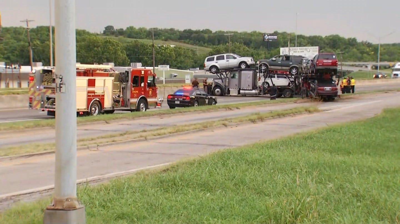 Semi Hauling Cars Blocks Tulsa Traffic After Collision