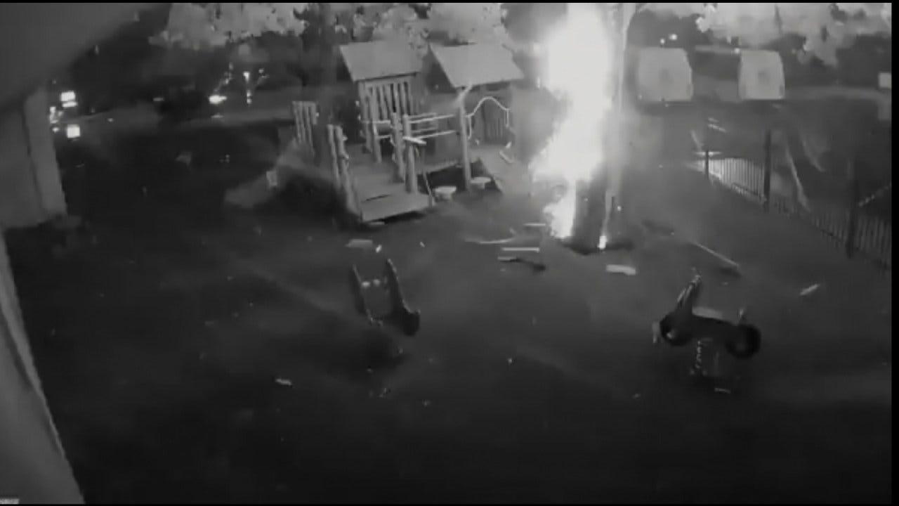 Tulsa Lightning Strike Caught On Video