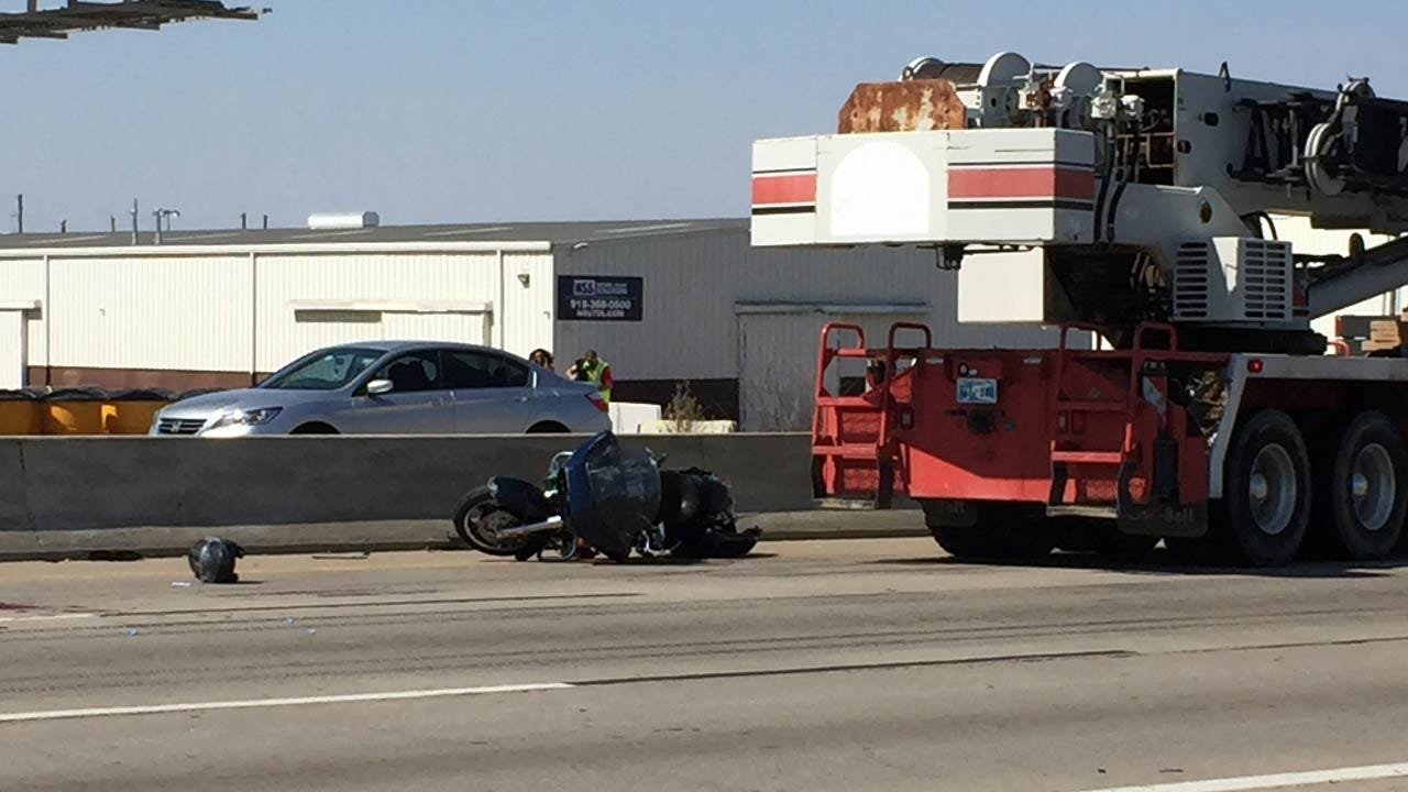 Motorcycle Driver Dies After Collision With Crane On Tulsa Highway