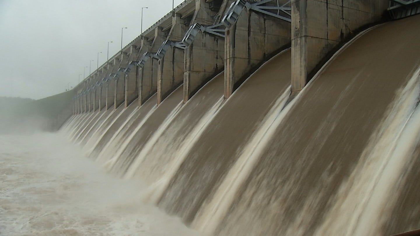 Keystone Dam Opens Up After Heavy Rain