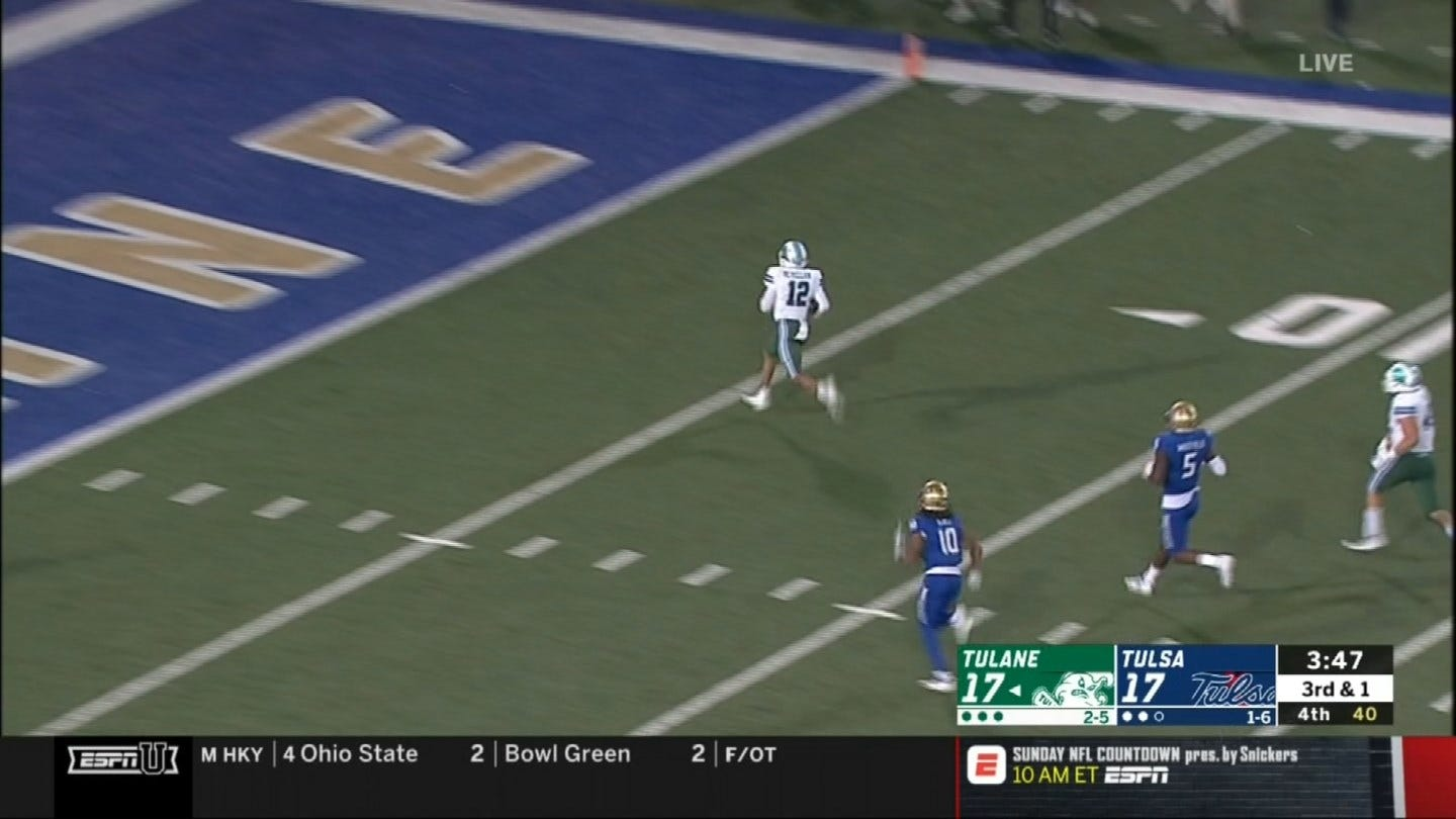 McMillian lifts Tulane over Tulsa 24-17