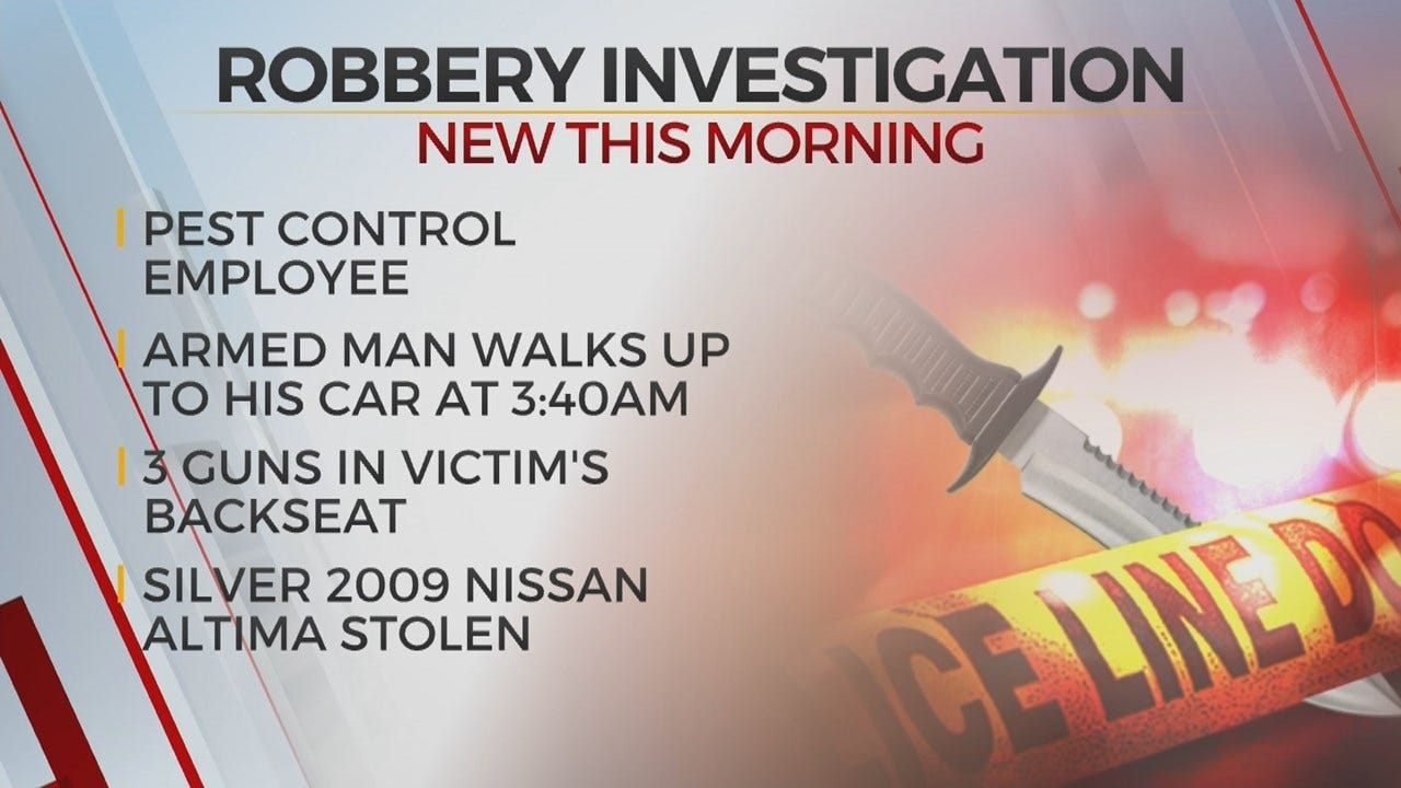 Tulsa Police Search For Robbery Suspect After Guns, Car Stolen