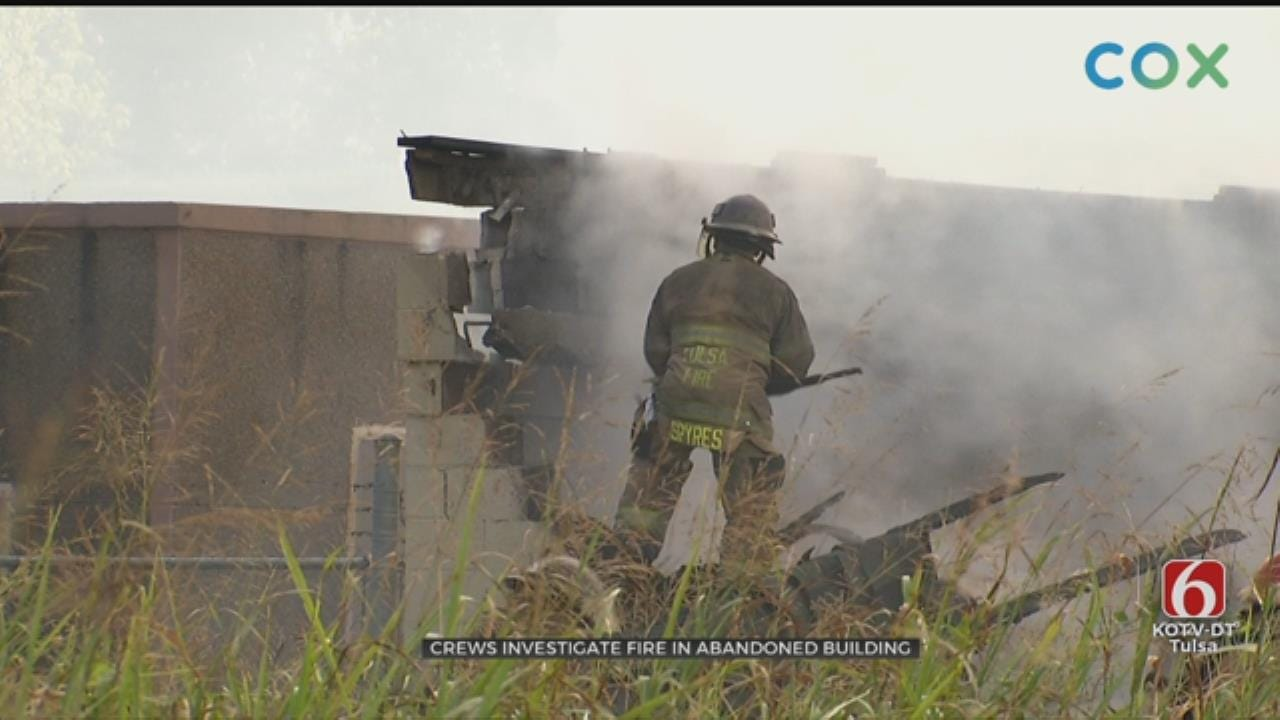 Firefighters Work Battle Flames At Abandoned Sand Springs Building
