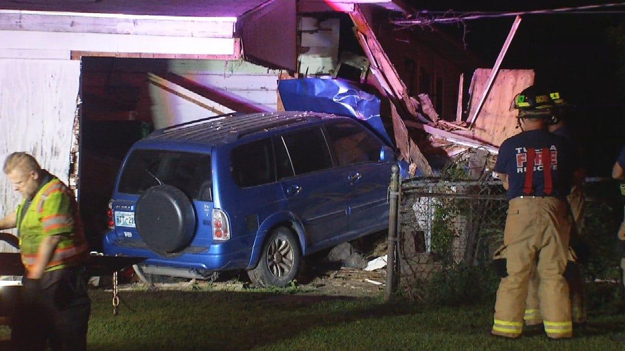 Driver Crashes SUV Through Tulsa Home