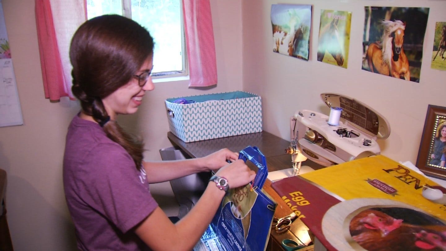 Sand Springs Teen 'Upcycles' Old Feed Sacks For Online Business