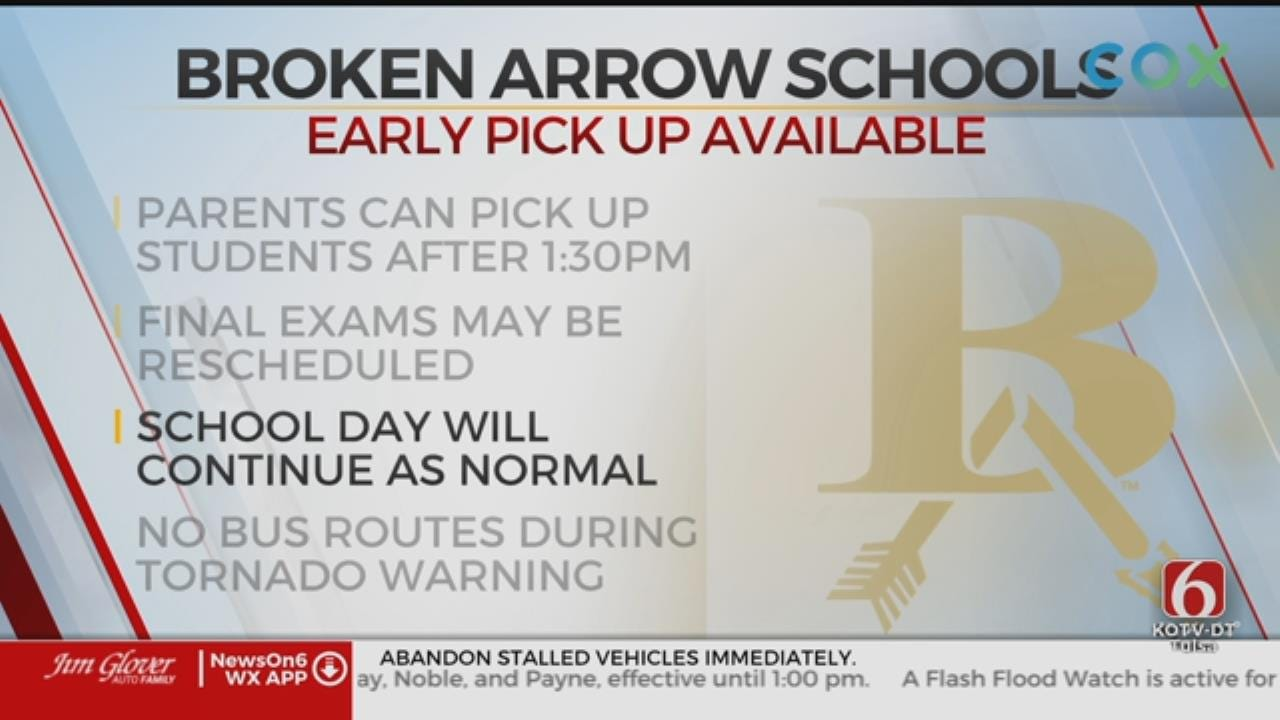 Broken Arrow Schools Plan Early Pick-Up, Cancel After School Activities