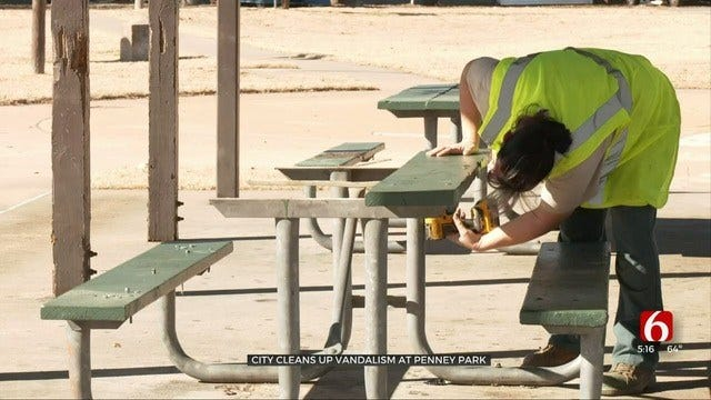 Tulsa Crews Cleaning Up After Vandals At Penney Park