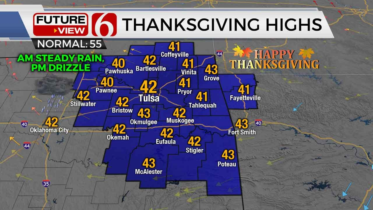Wet, Chilly Thanksgiving Across Green Country