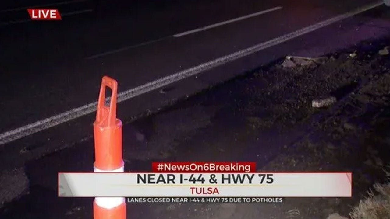 Lanes Closed On EB I-44 Near Hwy 75 Due To Potholes