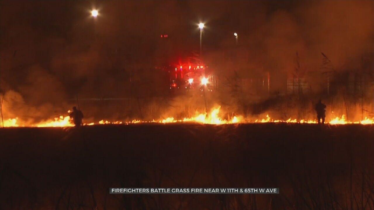 Firefighters Battle Large Grass Fire Near Tulsa Apartment Complex