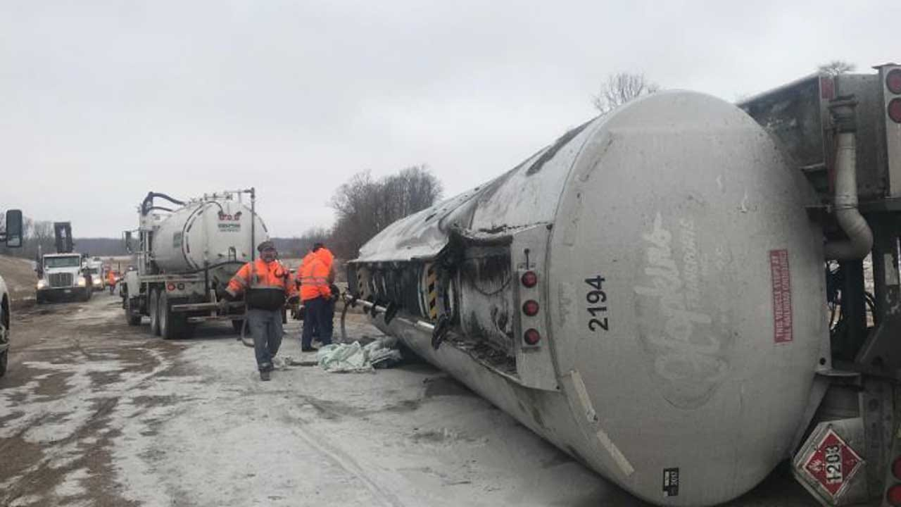 Cherokee Turnpike Back Open After Semi Hauling Fuel Rolled Over