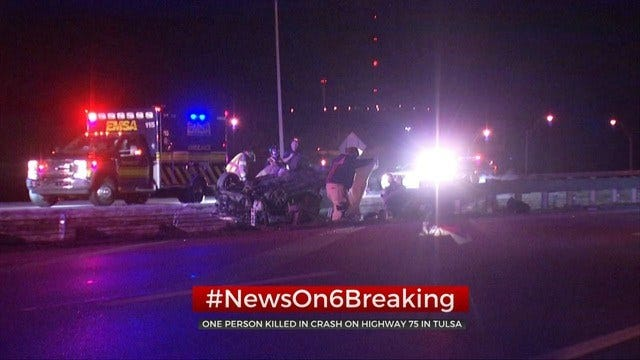 1 Dead, 1 Taken To Hospital Following Overnight Crash On HWY 75