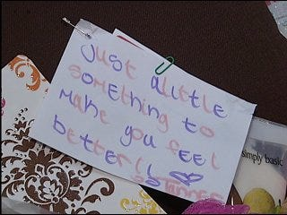 Girl Scouts give to Breast Cancer patients