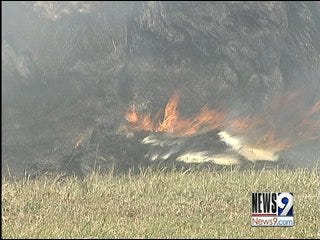 Wind adds fuel to farm fire