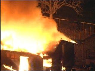 Flames Destroy Barn in Northeast Oklahoma City