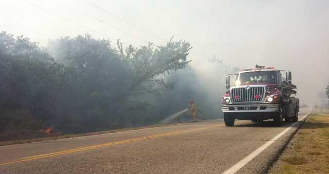 Firefighters Battling Grassfire In Edmond