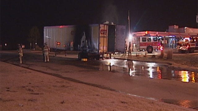 Hazmat Crew Cleaning Up After Semi Fire In Northeast OKC