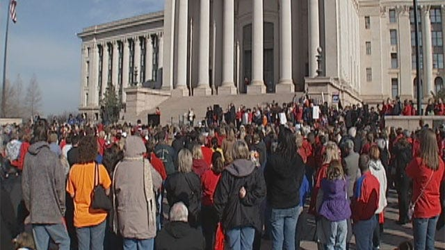 Oklahoma Teachers Rally For Pensions, Classrooms At State Capitol