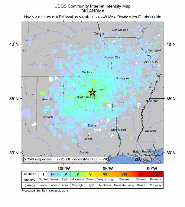 More Aftershocks Sunday, After Oklahoma's Largest Earthquake Saturday