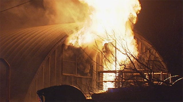 Massive Fire Destroys Home West Of Downtown OKC