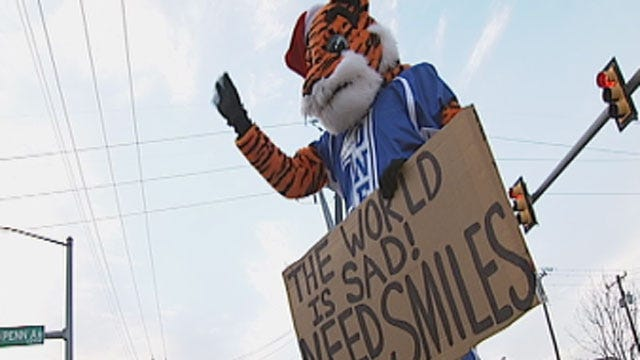 Stroud High School Mascot Spreads Holiday Cheer, Asks For Smiles