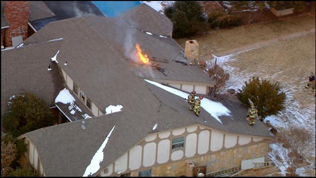 Firefighters Battle House Fire Near Lake Hefner
