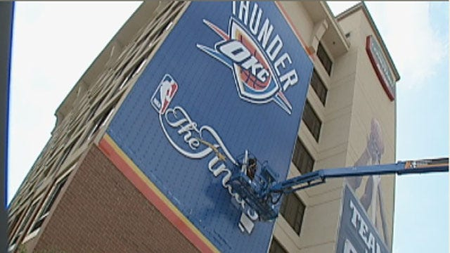 OKC Ready To Show Thunder Love With Giant Signs, Blue And Orange Lights