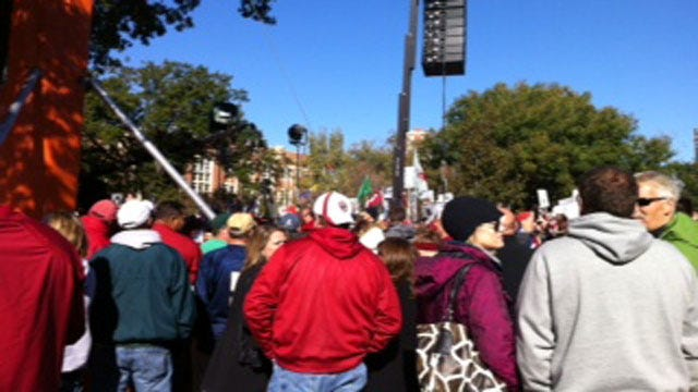 Crowd Gathers For Pre-Game Festivities In Norman Saturday